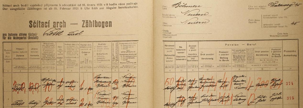 Arch sčítání lidu z roku 1921, kdy se svou ženou Lotty (*20 srpna 1895 v Nýrsku) bydlili ještě na adrese Waldweg 45