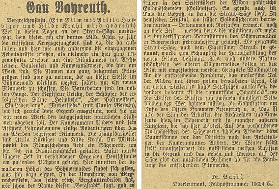 """Vydra se stala za války i scenerií k filmu Gustava Ucickyho """"Na konci světa (Dědička lesů)"""", který byl nacisty dvakrát zakázán a dostal se na plátna kin až v roce 1947 - do budějovického německého listu o jeho natáčení vKašperských Horách poslal zprávu nadporučík wehrmachtu Dr. Bartl"""