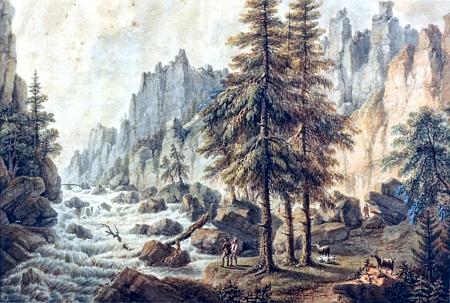 Vydra na sotva uvěřitelném kvaši Ferdinanda Runka z roku 1812, barvy prý vybledly tím, že obraz byl vystaven slunečnímu svitu