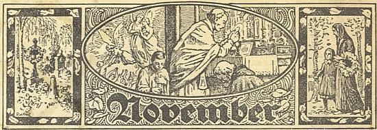 Záhlaví měsíců v kalendáři krumlovského listu Landbote, kam přispíval i on, provázela své venkovské čtenáře celým rokem