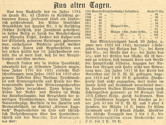 Úvod jeho textu v českobudějovickém měsíčníku Waldheimat