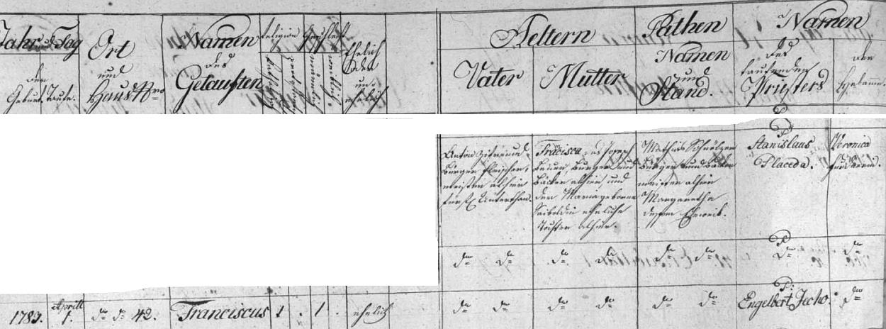 Záznam o jeho příchodu na svět 1. dubna roku 1783 v rodině řeznického mistra Antona Zifreunda a jeho ženy Franciscy, dcery chvalšinského měšťana a pekaře Josepha Bauera (Pauera) - místem narození byl dům čp. 42