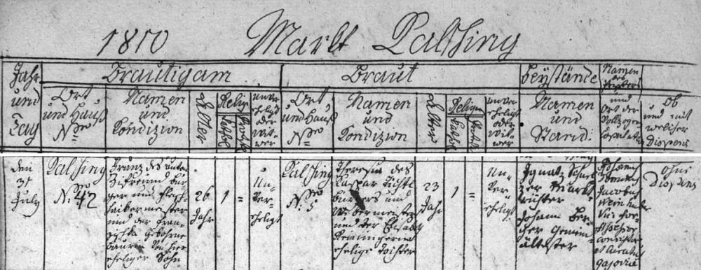 Franz Ziefreund z Chvalšin čp. 42 si podle záznamu oddací matriky zdejší fary bere 31. července roku 1810 za ženu Theresii Dichtlovou z domu čp. 5, dceru tkalcovského mistra Kaspara Dichtla a jeho ženy Elisabeth, roz. Reiningerové (Reiningerin)