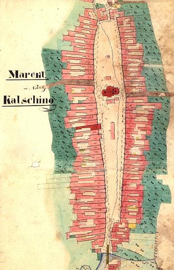 Chvalšiny na indikační skice stabilního katastru z roku 1827
