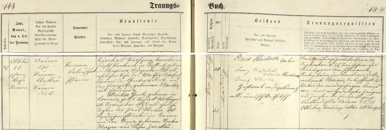 Záznam nýrské oddací matriky o svatbě Wolfganga Zierhuta s Margarethe Stuiberovou dne 26. října roku 1911 - oddával je farář Roman Balouschek