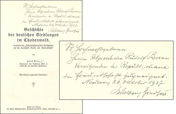 Vazba, frontispis a titulní list (1937) Blauovy knihy s podobiznou poslance Zierhuta a s jeho věnováním Rudolfu Beranovi; knihu vydal Ersten Westböhmischen Druckindustrie v Plzni
