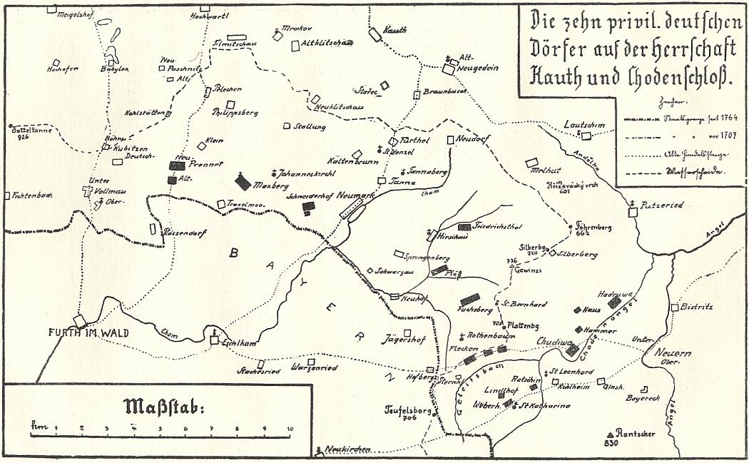 Mapa Chodska a deseti privilegovaných německých vsí na panství Kout na Šumavě a Trhanov z Blauovy knihy