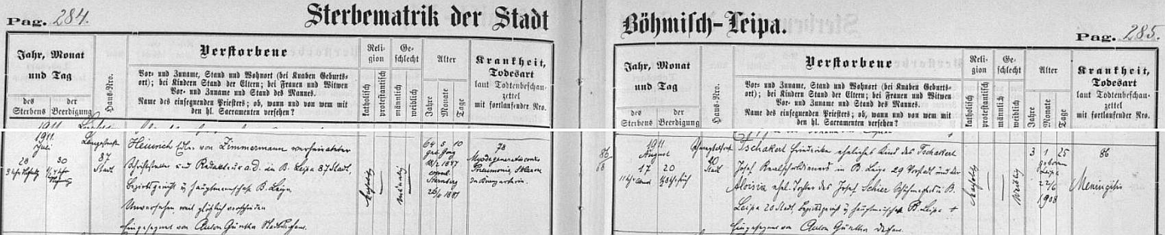 Záznam o jeho úmrtí v českolipské knize zemřelých