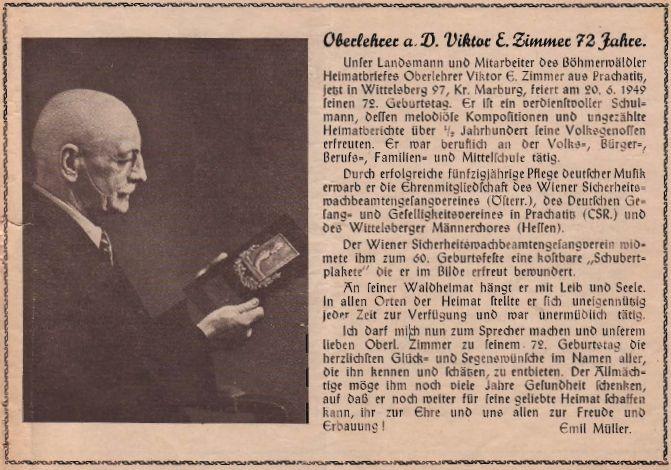 Pozdrav k jeho dvaasedmdesátinám od Emila Müllera na stránkách krajanského časopisu