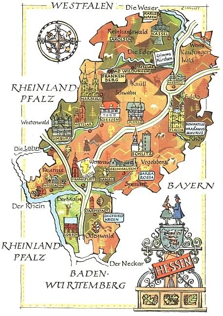 Marburg, kde zemřel a je pochován, na kreslené mapce spolkové země Hesensko