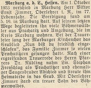 Zpráva o úmrtí sedmasedmdesátiletého Viktora Ernsta Zimmera 1. října 1953 vhesenském Marburgu