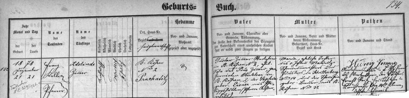 Rok po něm se také v Českých Žlebech narodila jeho sestra Adelinde, pozdější ředitelka školy ve Volarech (zůstala až do své smrti v roce 1956 neprovdána)