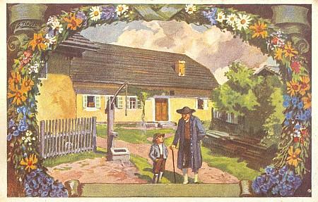Pohlednice se scénkou ze Stifterovy povídky Žula (před spisovatelovým rodným domem v Horní Plané) na jeho malbě