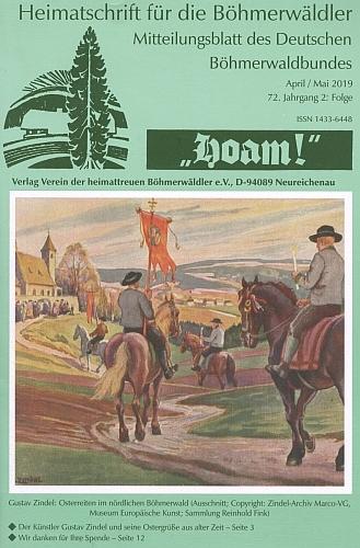 """Jeho obraz """"Velikonoční jízda na severní Šumavě"""" na obálce krajanského časopisu"""