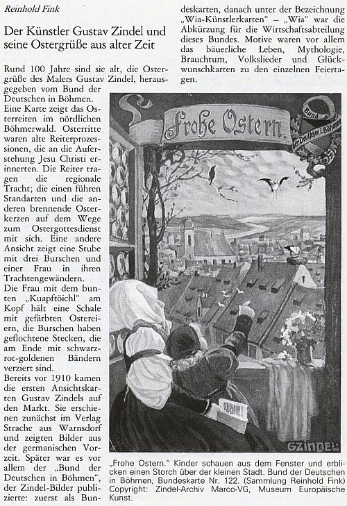 Úvod článku Reinholda Finka o něm v časopise Hoam! - text doprovázely Zindelovy pohlednice z Finkovy sbírky
