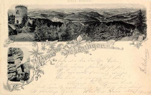 Výhled z vrcholu Kletě a Žebříkové skály na pohlednici, kterou vydal