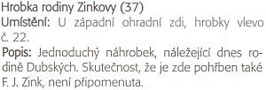 Popis hrobky rodiny Zinkových v knize Daniela Kováře věnované českobudějovickým hřbitovům