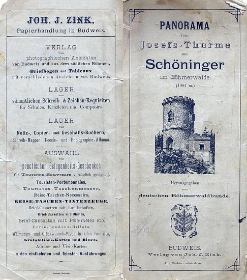 Obálka (1888) jeho vydání skládačky panoramatického rozhledu z Kleti podle perokresby Ferdinanda Runka