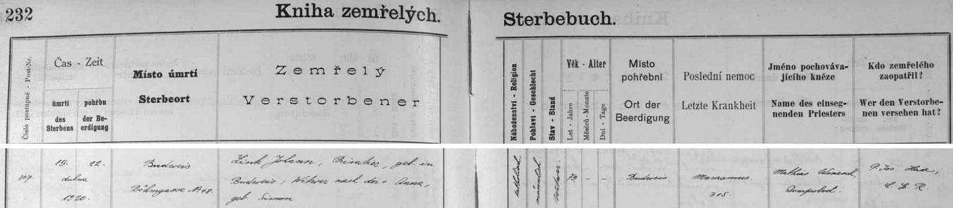Zemřel podle českobudějovické Knihy zemřelých v České ulici čp. 48 jako vdovec po Anně, roz. Simonové, ve věku 79 let na stařeckou sešlost