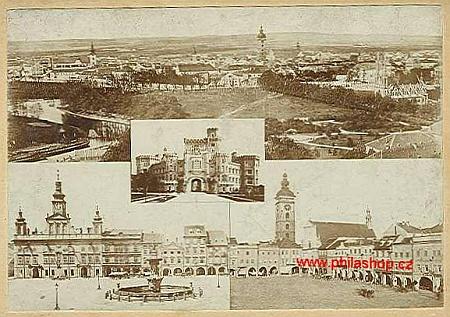 Další z jím vydaných pohlednic - s Českými Budějovicemi a blízkou Hlubokou