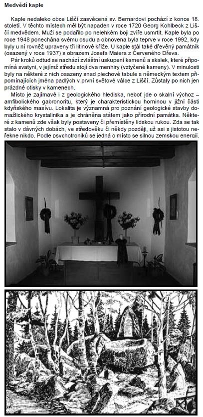 Text o Medvědí kapli z publikace o Chudeníně