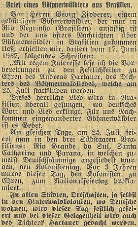 Dopis jeho bratra Georga českobudějovickému německému listu upříležitosti odhalení památníku šumavské hymny a jejího autora Andrease Hartauera vLenoře 25. července roku 1937