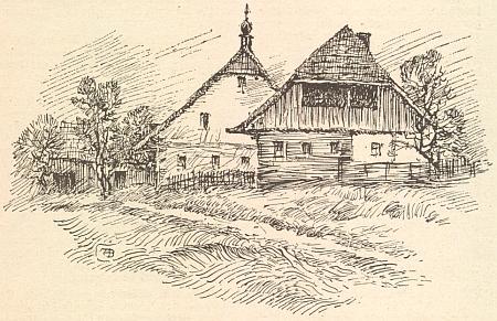 """Ze šumavské vsi Fleky, z níž tu kresba A. Bienerta zachycuje stavení zvané """"Matthesbauer"""", odešel kdysi prvý z Zippererů za oceán"""