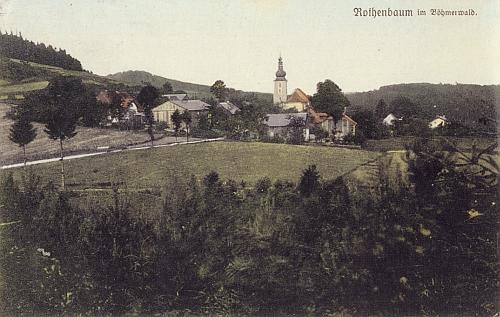 Červené Dřevo, odkud psal svůj dopis, na staré soudobé pohlednici (viz i Anton Haas, Maria Schmidt-Klimaová a Leopold Klima)