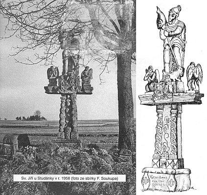 Další z Böhmových prací Sv. Jiří u Studánky na snímku z roku 1958 a v kresebné rekonstrukci