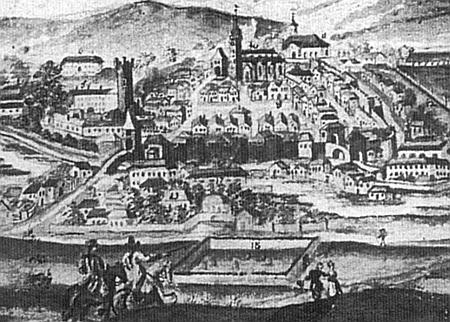 """Tachov na konci osmnáctého století na detailu veduty v popředí se starým židovským hřbitovem ohrazeným zdí, položeným ovšem už """"za hradbami města"""""""