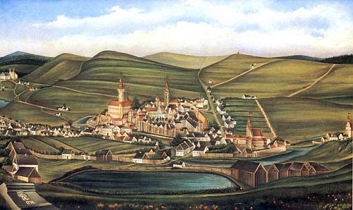 Celkový pohled na Tachov od jihu z roku 1738