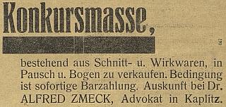 Inzerát v českobudějovickém německém listu