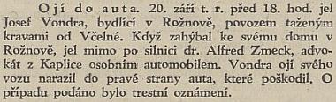 Zpráva v černé kronice o dopravní nehodě v Rožnově, v té byl nevinně