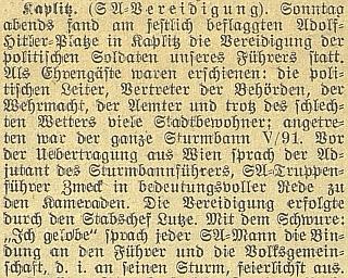V roce 1939 řečnil v Kaplici již jako nacistický funkcionář
