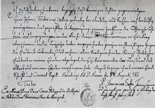 Nejstarší známá listina z historie hereckého rodu Zöllnerů, potvrzení o přestupu Friedricha Zöllnera k římskokatoliské církvi v Hainburgu 8.srpna1782