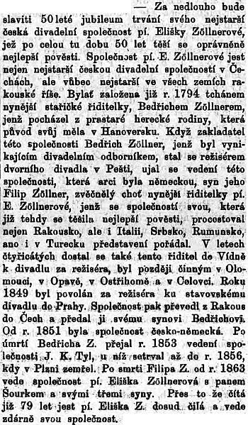 Článek o něm a jeho divadelní společnosti v českém plzeňském listu