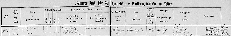 Záznam o jeho narození ve vídeňské židovské křestní matrice