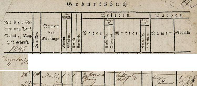 Záznam prostějovcké židovské matriky o zdejším narození otcově 28. prosince roku 1845 v domě čp. 150