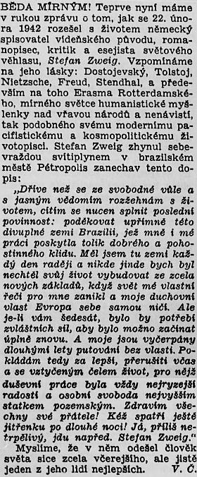 Takto psal o jeho smrti v roce 1946 v Kritickém měsíčníku Václav Černý